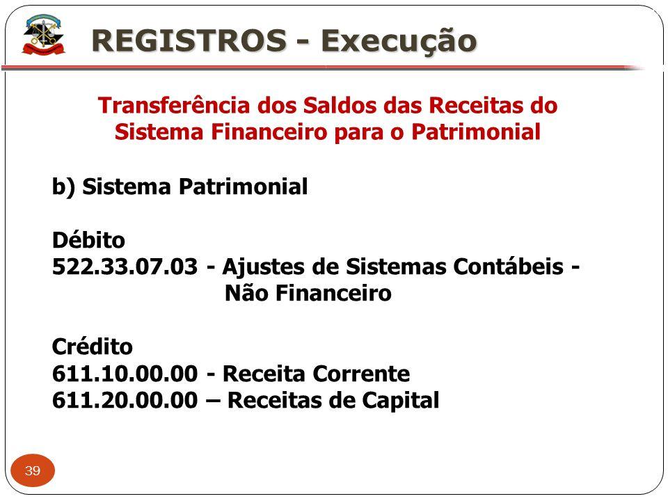 XREGISTROS - Execução. Transferência dos Saldos das Receitas do Sistema Financeiro para o Patrimonial.