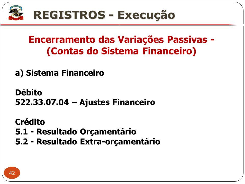 Encerramento das Variações Passivas - (Contas do Sistema Financeiro)