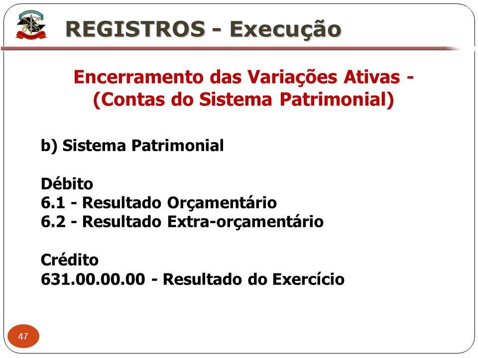 Encerramento das Variações Ativas - (Contas do Sistema Patrimonial)