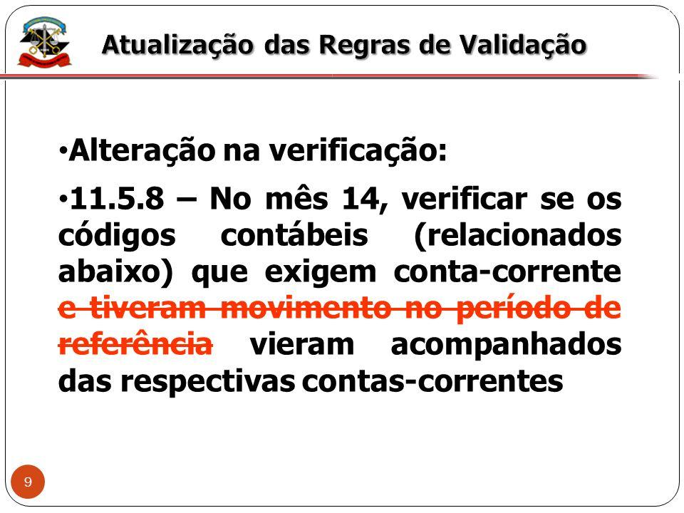 Alteração na verificação: