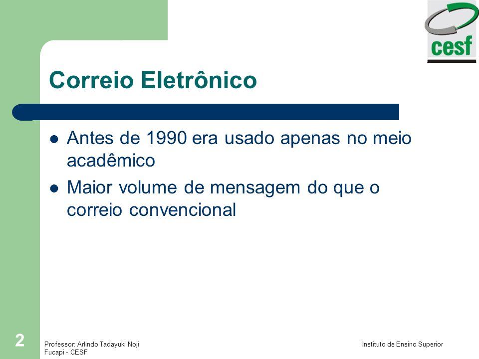 Correio Eletrônico Antes de 1990 era usado apenas no meio acadêmico