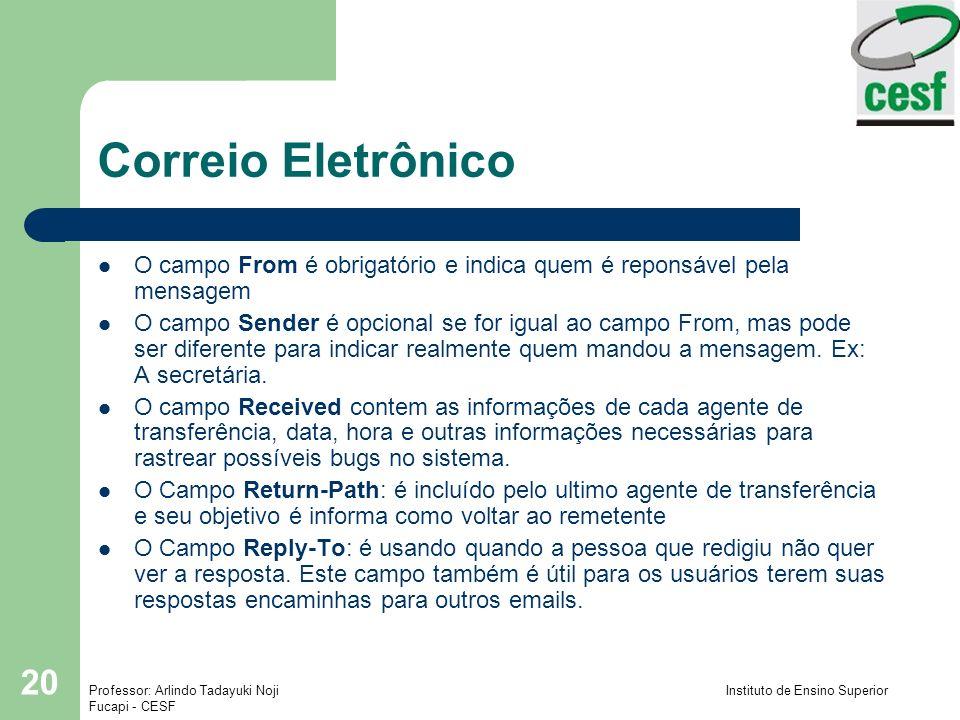 Correio Eletrônico O campo From é obrigatório e indica quem é reponsável pela mensagem.