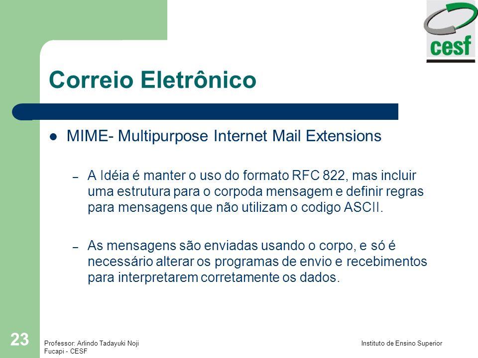 Correio Eletrônico MIME- Multipurpose Internet Mail Extensions