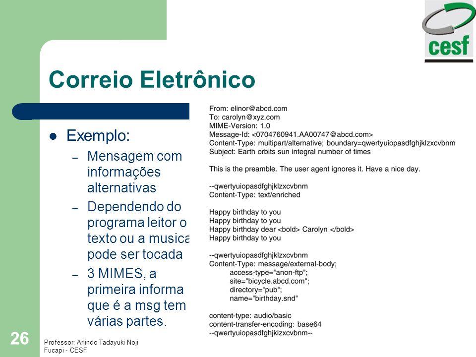 Correio Eletrônico Exemplo: Mensagem com informações alternativas