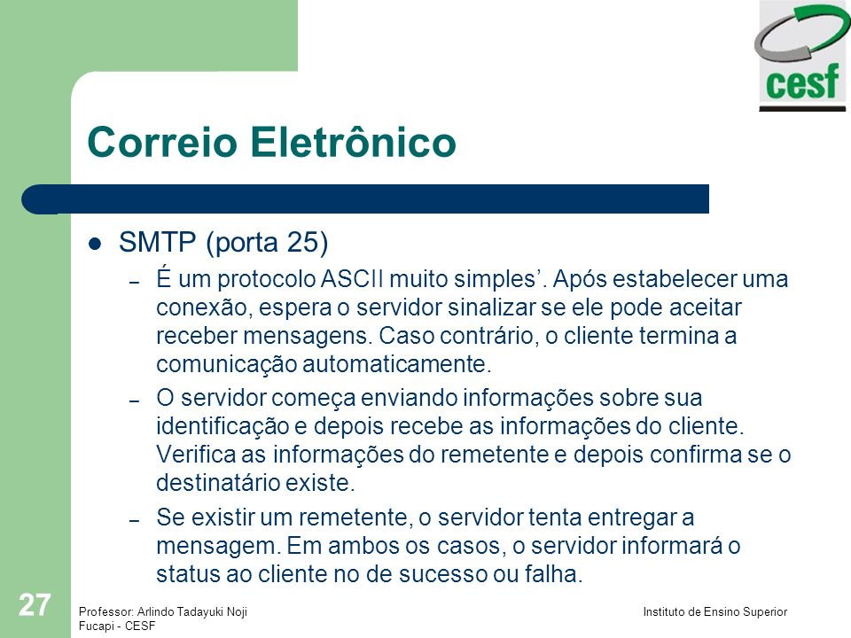 Correio Eletrônico SMTP (porta 25)