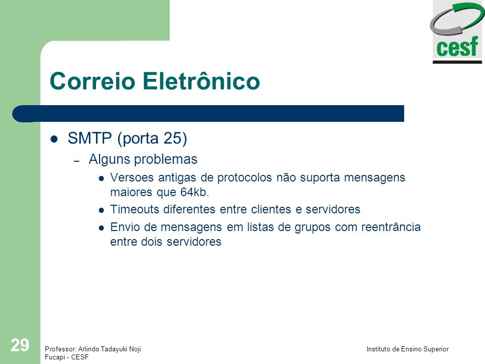 Correio Eletrônico SMTP (porta 25) Alguns problemas