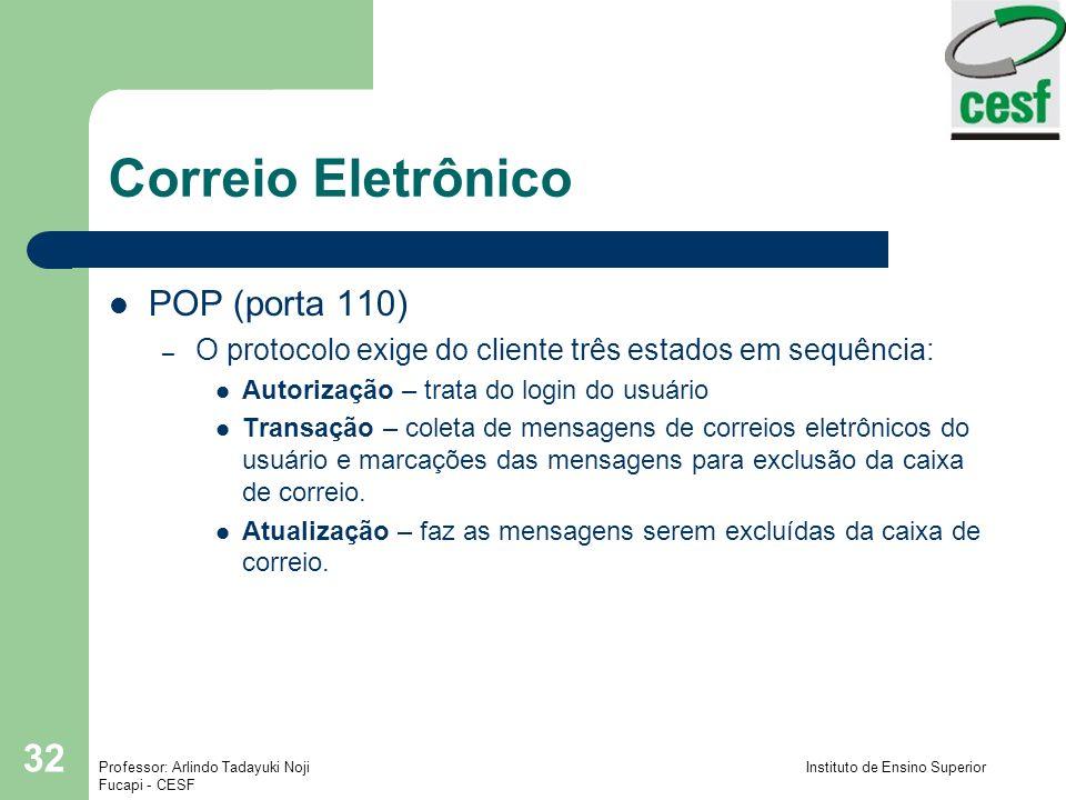Correio Eletrônico POP (porta 110)
