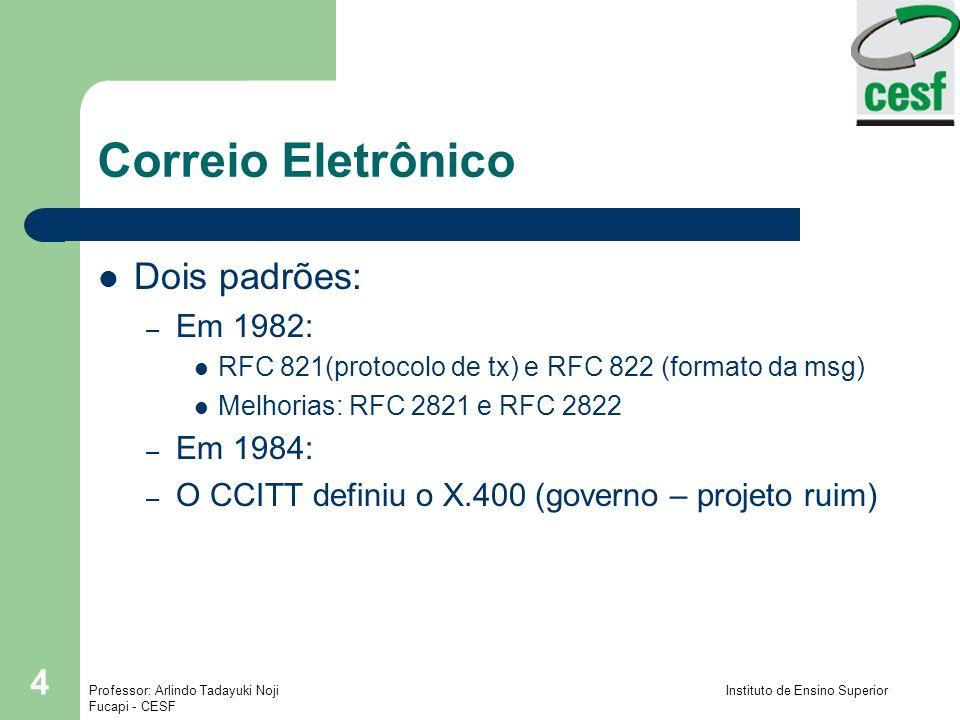 Correio Eletrônico Dois padrões: Em 1982: Em 1984: