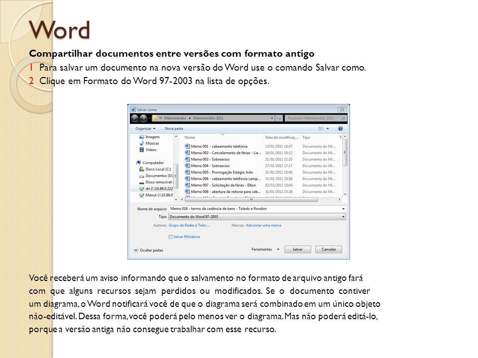 Word Compartilhar documentos entre versões com formato antigo