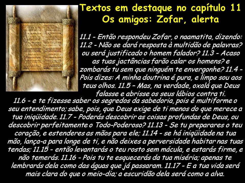 Textos em destaque no capítulo 11 Os amigos: Zofar, alerta