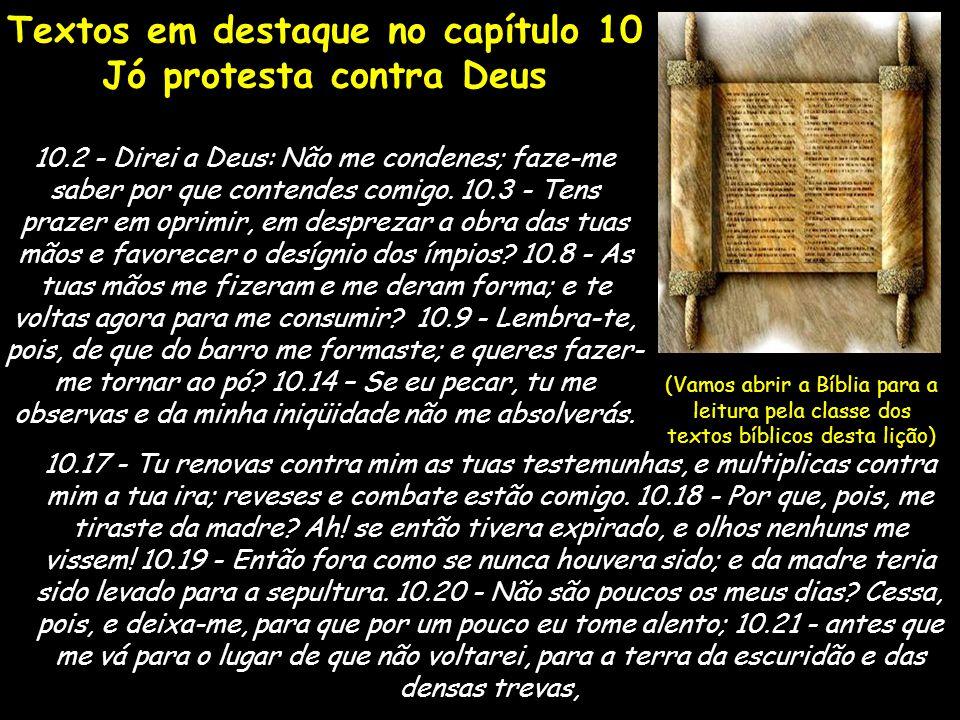 Textos em destaque no capítulo 10 Jó protesta contra Deus