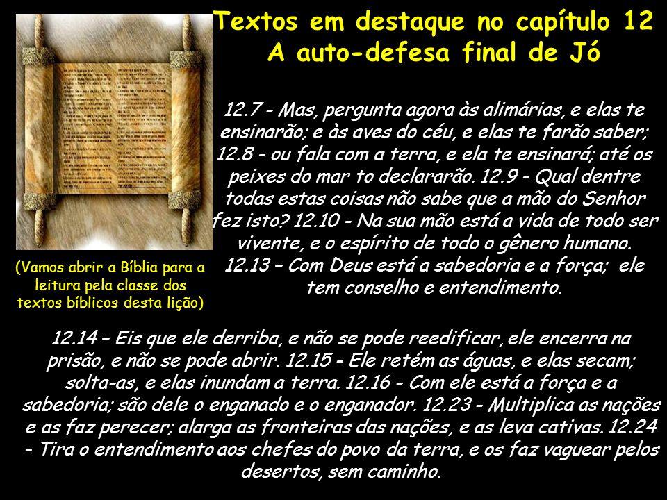 Textos em destaque no capítulo 12 A auto-defesa final de Jó