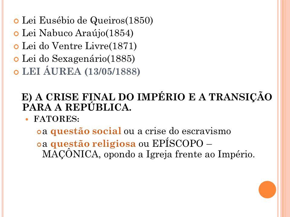 Lei Eusébio de Queiros(1850) Lei Nabuco Araújo(1854)