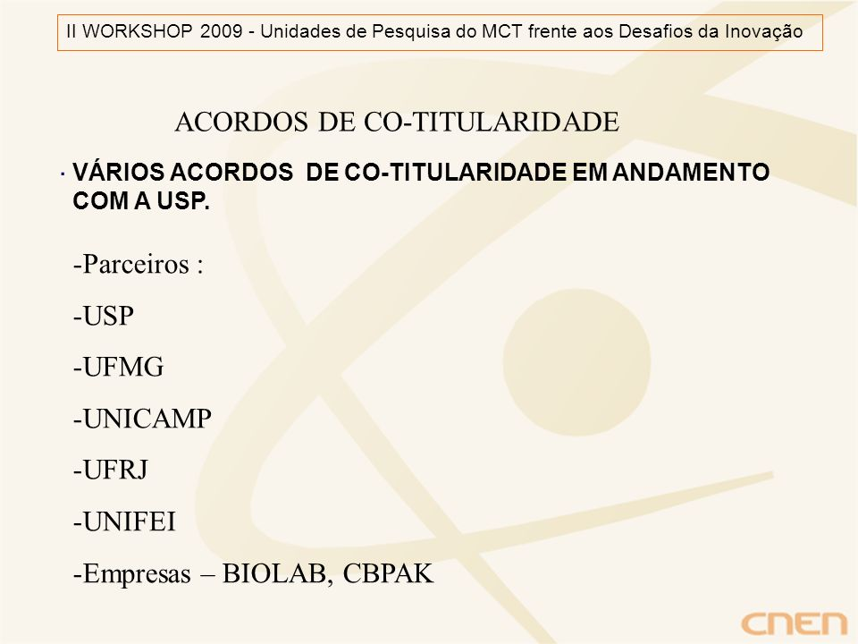 ACORDOS DE CO-TITULARIDADE