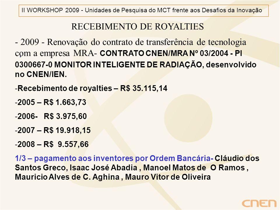 RECEBIMENTO DE ROYALTIES