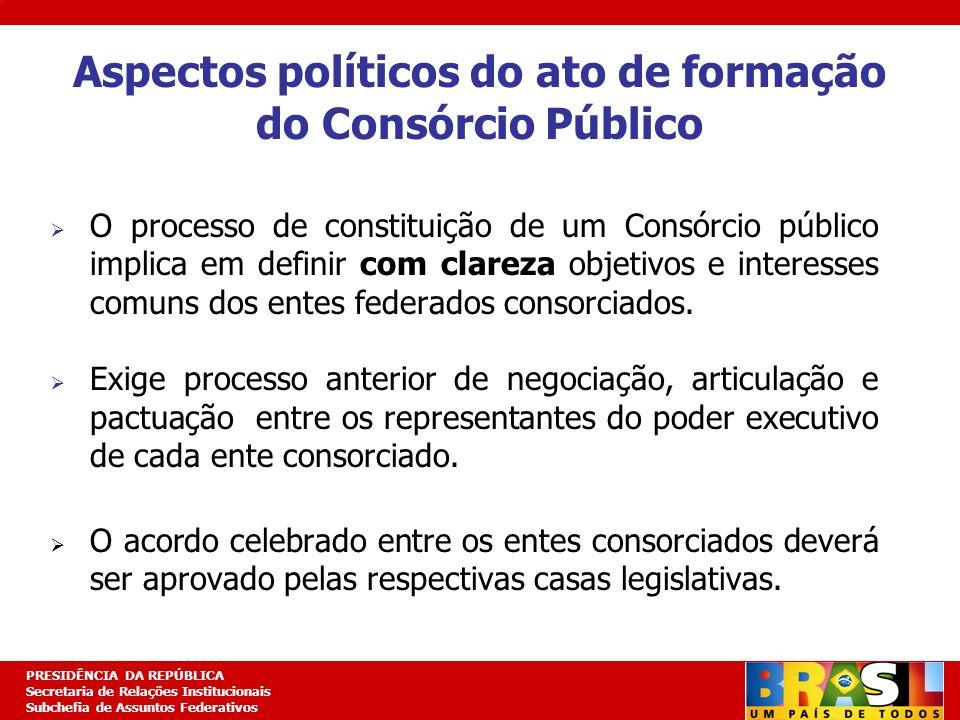 Aspectos políticos do ato de formação do Consórcio Público