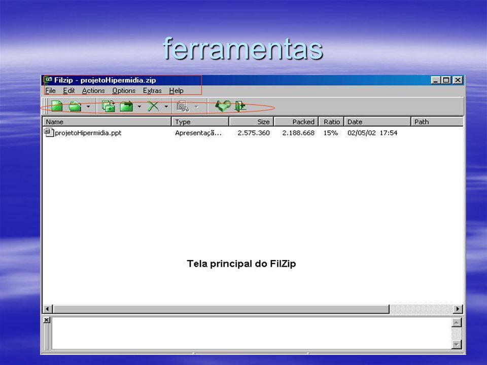 ferramentas File= aq vc envia por email arquivos,cria, abre, apaga-os, etc. Edit=onde estao as fuções de seleção de arquivos.