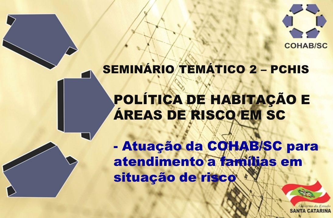 - Atuação da COHAB/SC para atendimento a famílias em situação de risco