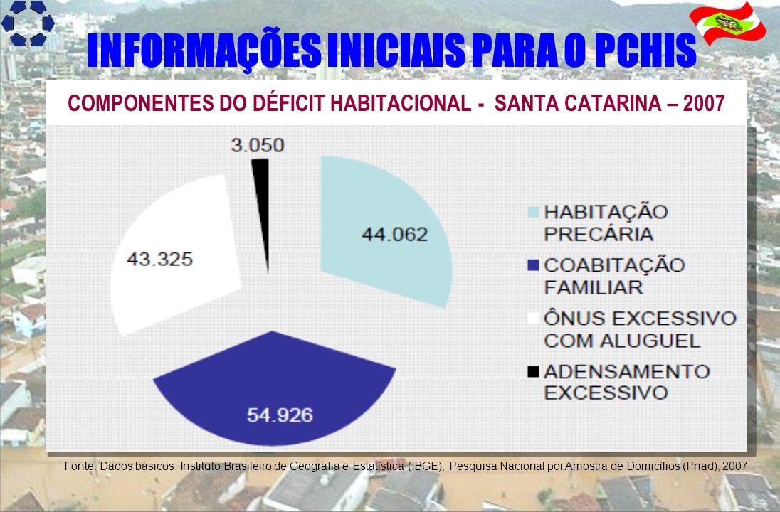 COMPONENTES DO DÉFICIT HABITACIONAL - SANTA CATARINA – 2007