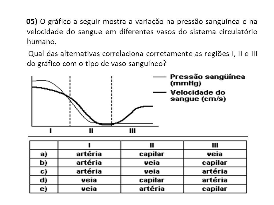 05) O gráfico a seguir mostra a variação na pressão sanguínea e na velocidade do sangue em diferentes vasos do sistema circulatório humano.