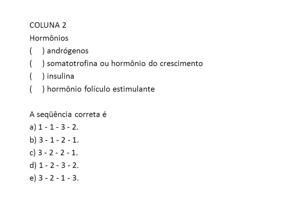 COLUNA 2 Hormônios ( ) andrógenos ( ) somatotrofina ou hormônio do crescimento ( ) insulina ( ) hormônio folículo estimulante A seqüência correta é a) 1 - 1 - 3 - 2.