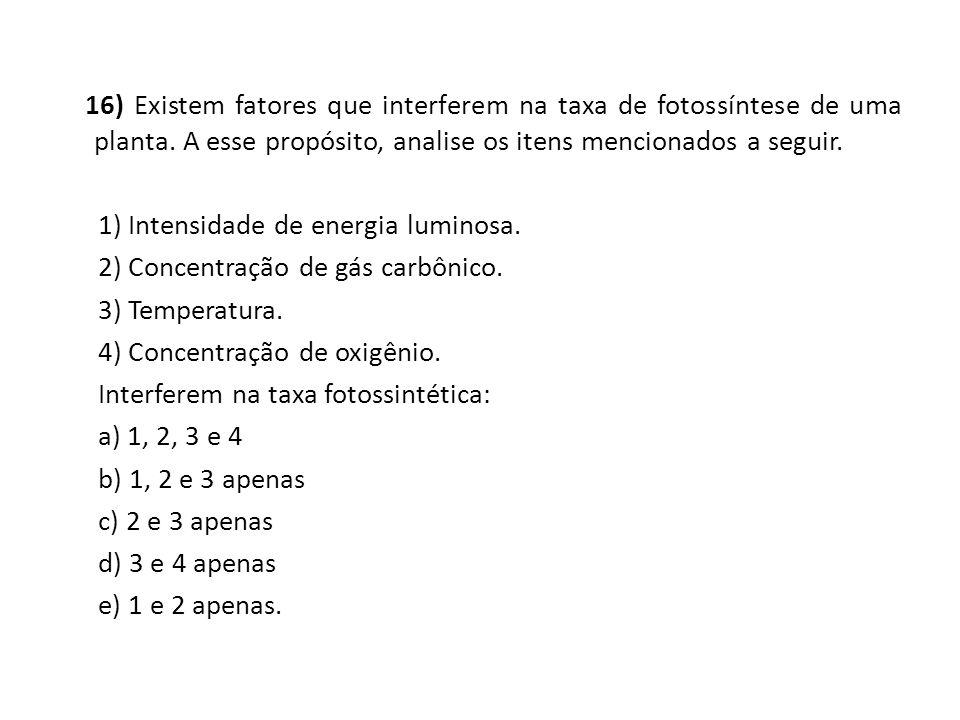 16) Existem fatores que interferem na taxa de fotossíntese de uma planta.