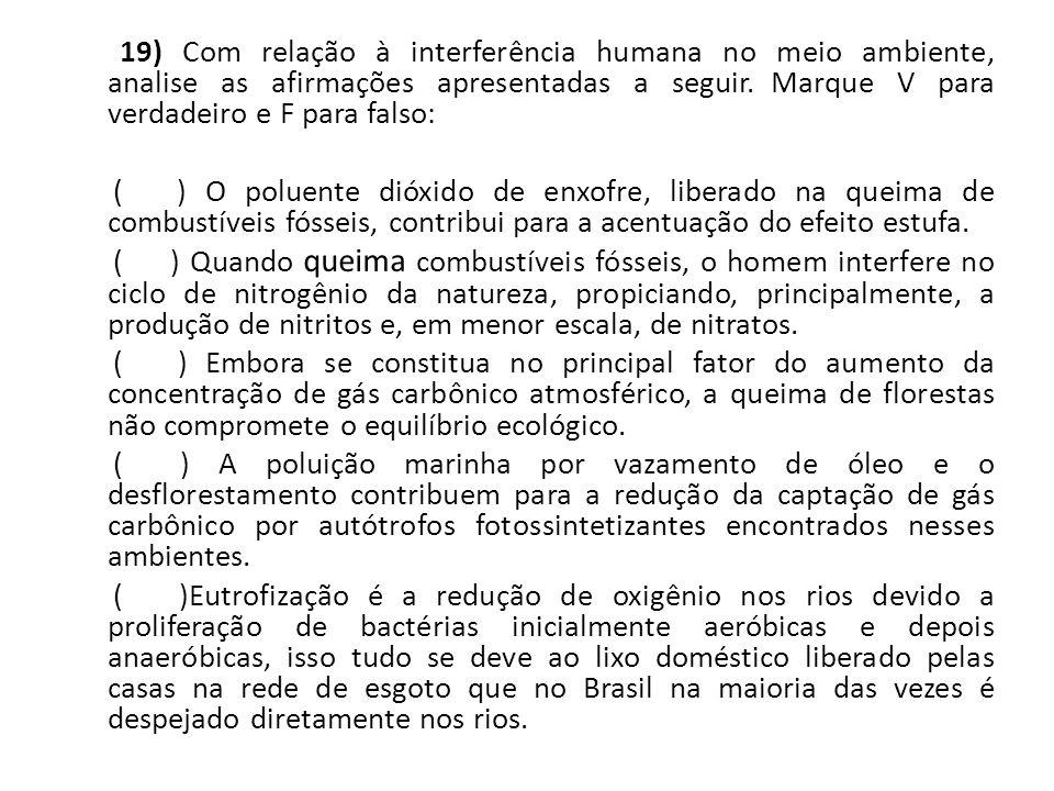 19) Com relação à interferência humana no meio ambiente, analise as afirmações apresentadas a seguir.