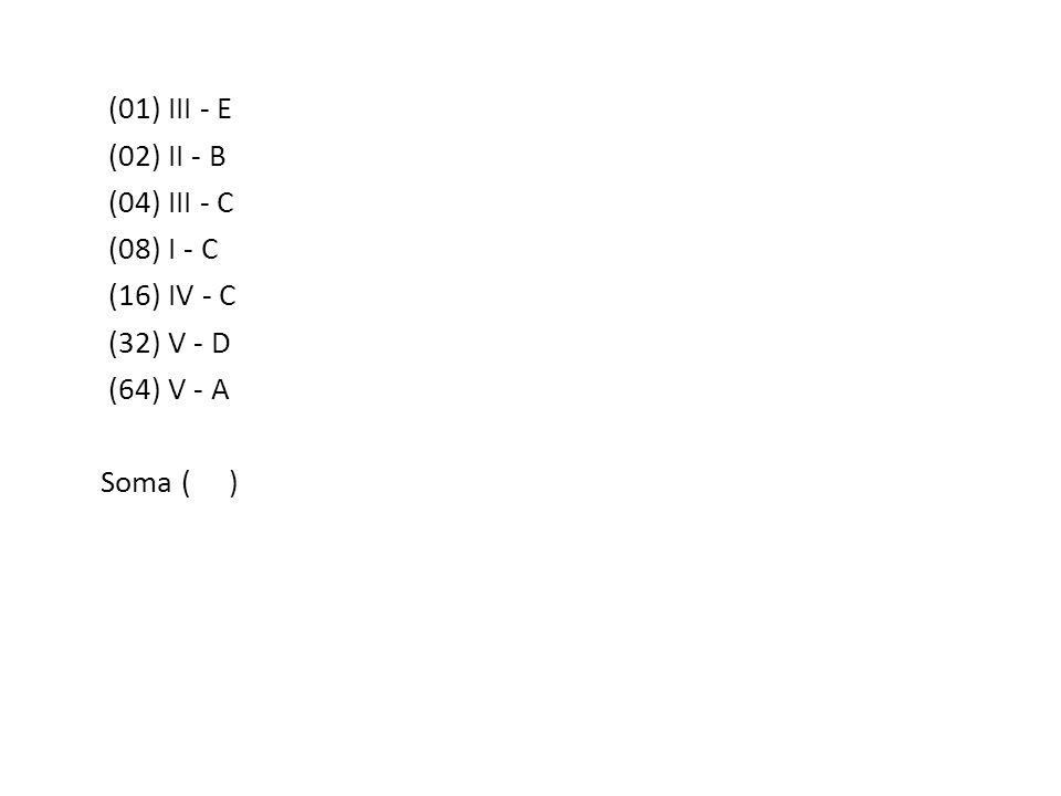 (01) III - E (02) II - B (04) III - C (08) I - C (16) IV - C (32) V - D (64) V - A Soma ( )