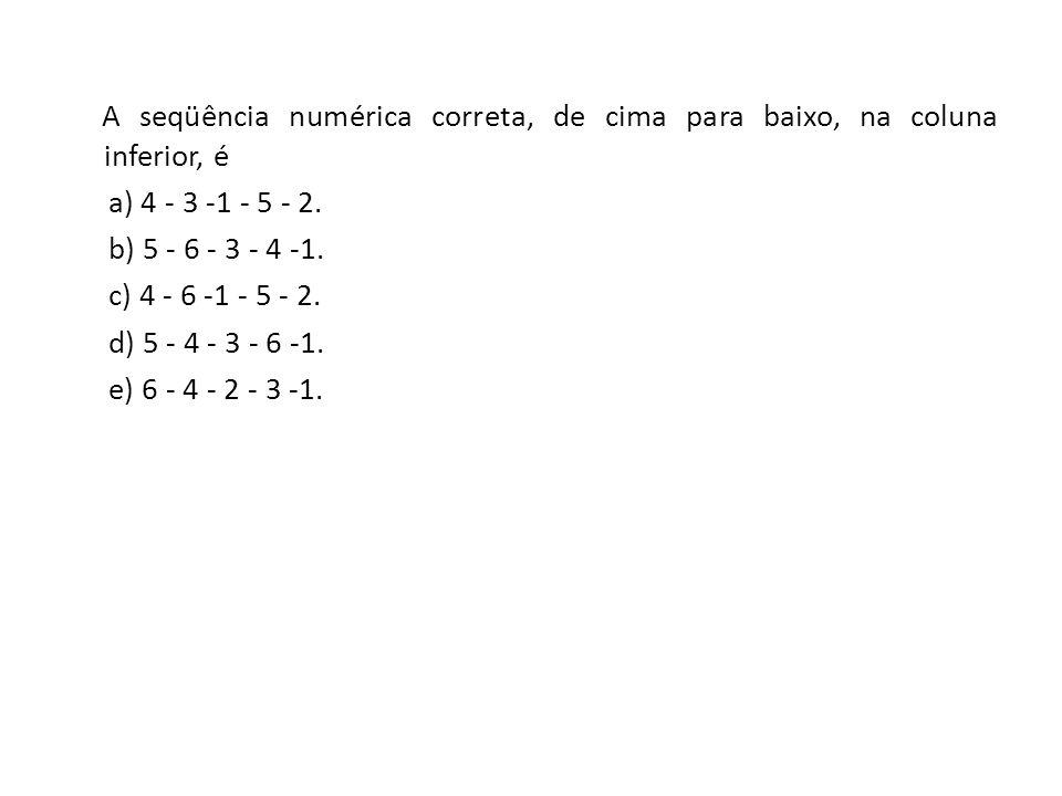 A seqüência numérica correta, de cima para baixo, na coluna inferior, é a) 4 - 3 -1 - 5 - 2.