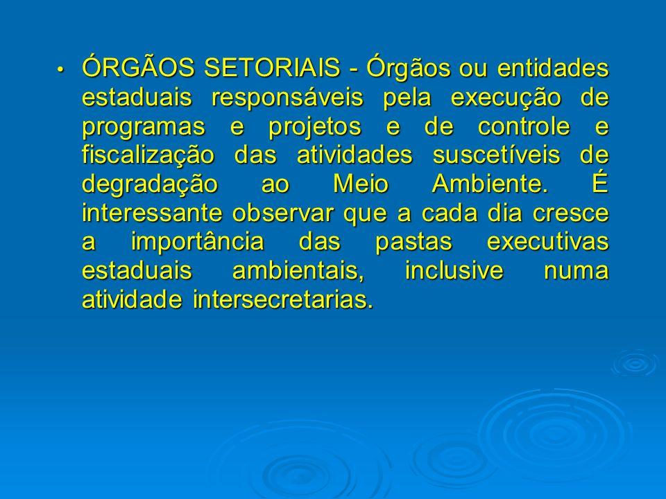 ÓRGÃOS SETORIAIS - Órgãos ou entidades estaduais responsáveis pela execução de programas e projetos e de controle e fiscalização das atividades suscetíveis de degradação ao Meio Ambiente.