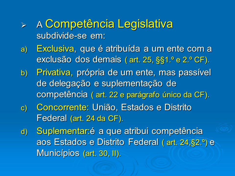 A Competência Legislativa subdivide-se em: