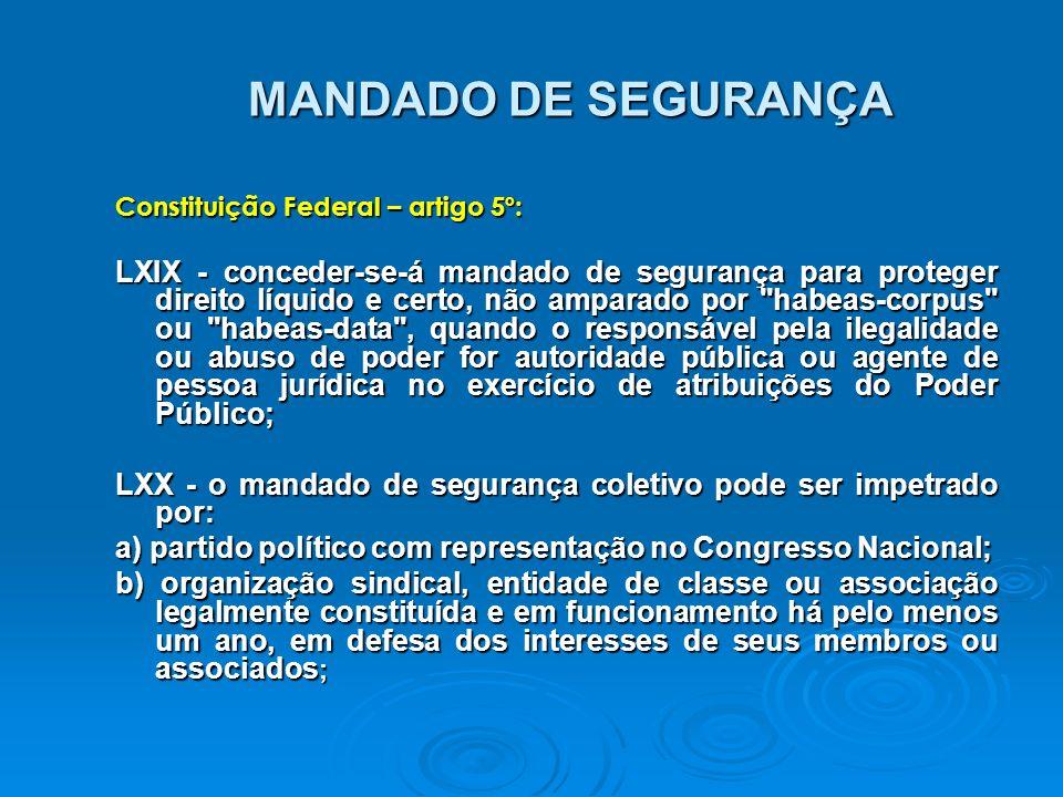 MANDADO DE SEGURANÇA Constituição Federal – artigo 5º: