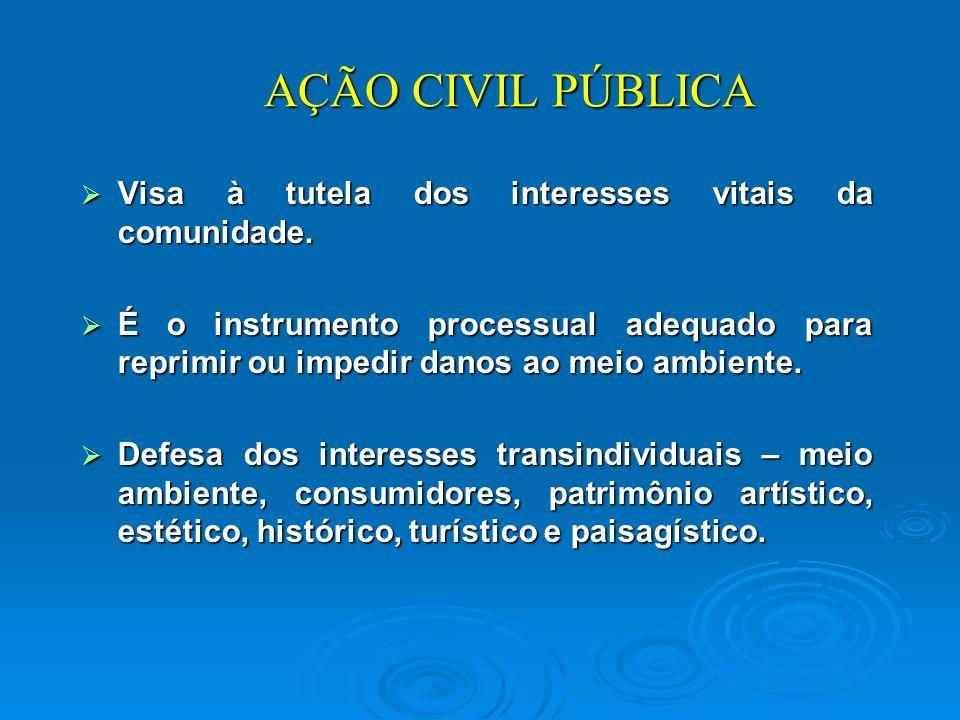 AÇÃO CIVIL PÚBLICA Visa à tutela dos interesses vitais da comunidade.