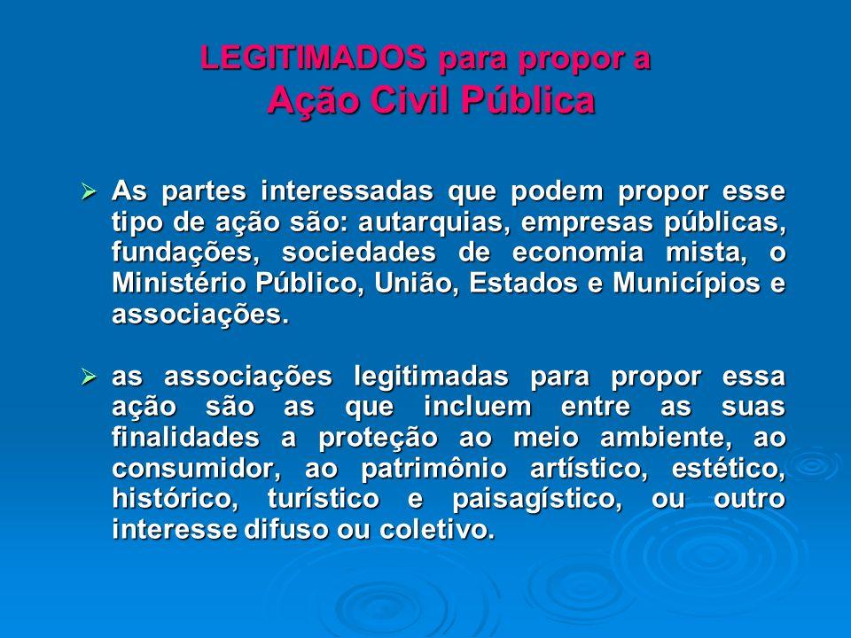 LEGITIMADOS para propor a Ação Civil Pública