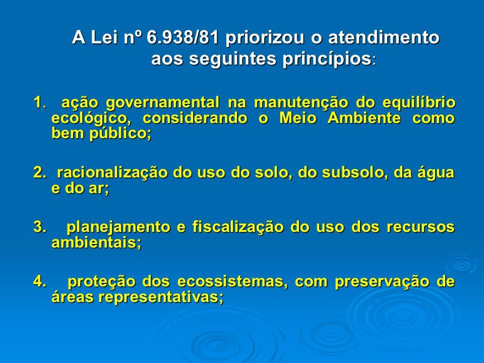 A Lei nº 6.938/81 priorizou o atendimento aos seguintes princípios: