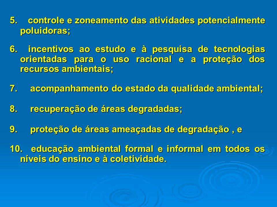 5. controle e zoneamento das atividades potencialmente poluidoras;