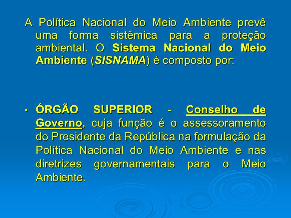 A Política Nacional do Meio Ambiente prevê uma forma sistêmica para a proteção ambiental. O Sistema Nacional do Meio Ambiente (SISNAMA) é composto por:
