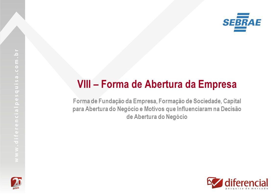 VIII – Forma de Abertura da Empresa