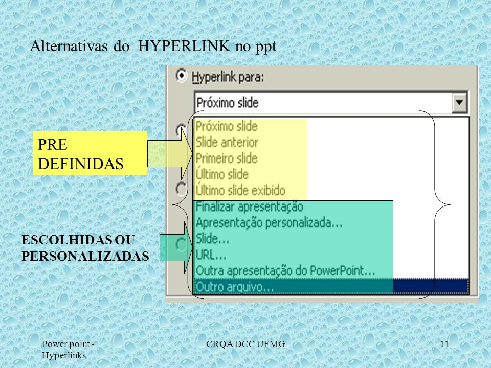 Alternativas do HYPERLINK no ppt