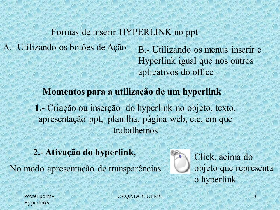 Formas de inserir HYPERLINK no ppt