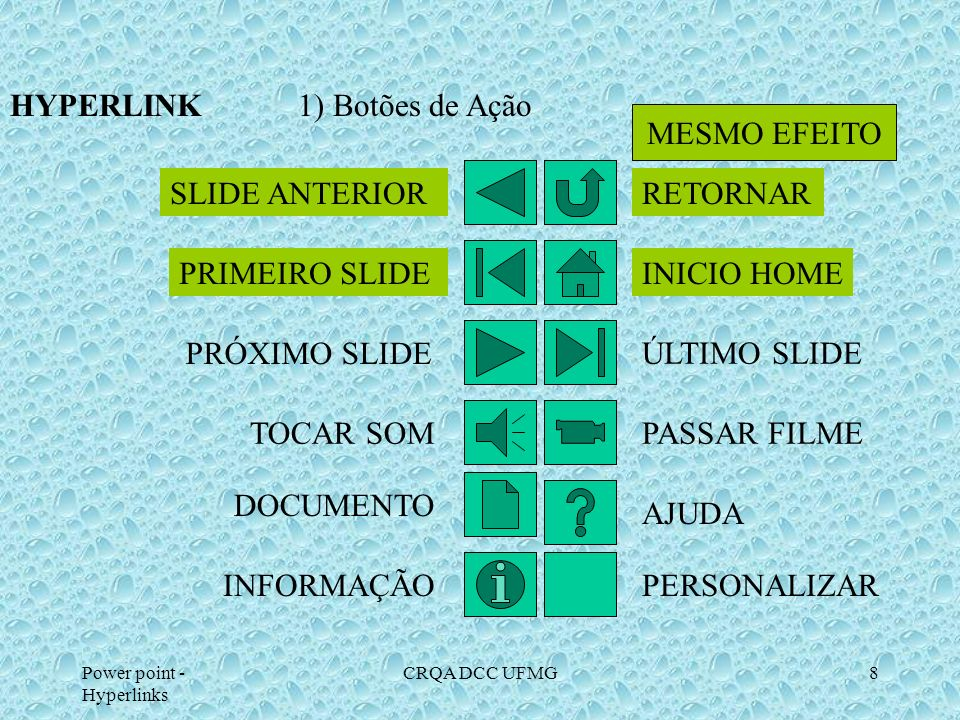 HYPERLINK 1) Botões de Ação MESMO EFEITO SLIDE ANTERIOR RETORNAR