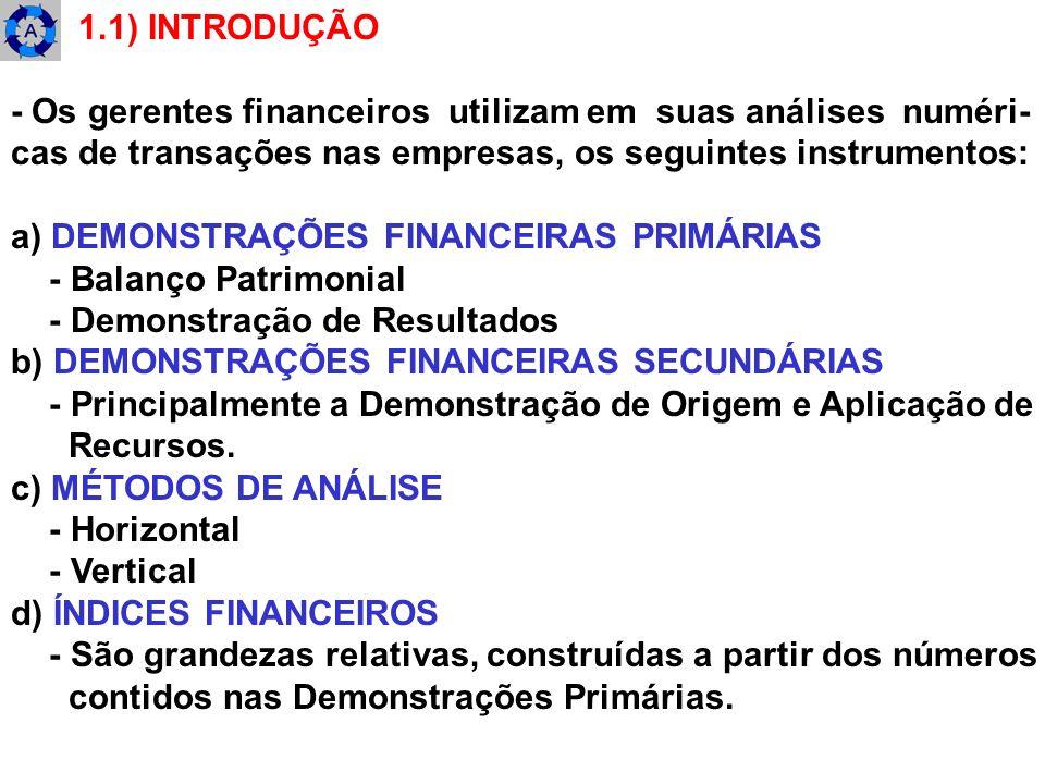 1.1) INTRODUÇÃO- Os gerentes financeiros utilizam em suas análises numéri- cas de transações nas empresas, os seguintes instrumentos: