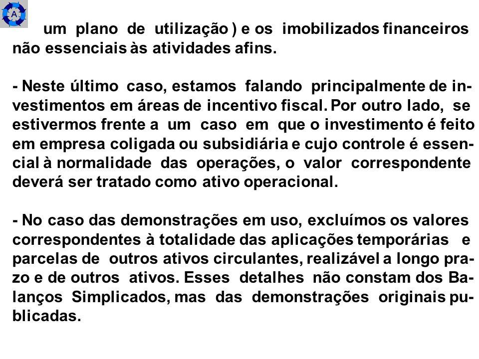 um plano de utilização ) e os imobilizados financeiros