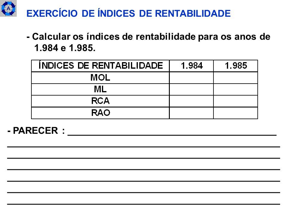 EXERCÍCIO DE ÍNDICES DE RENTABILIDADE