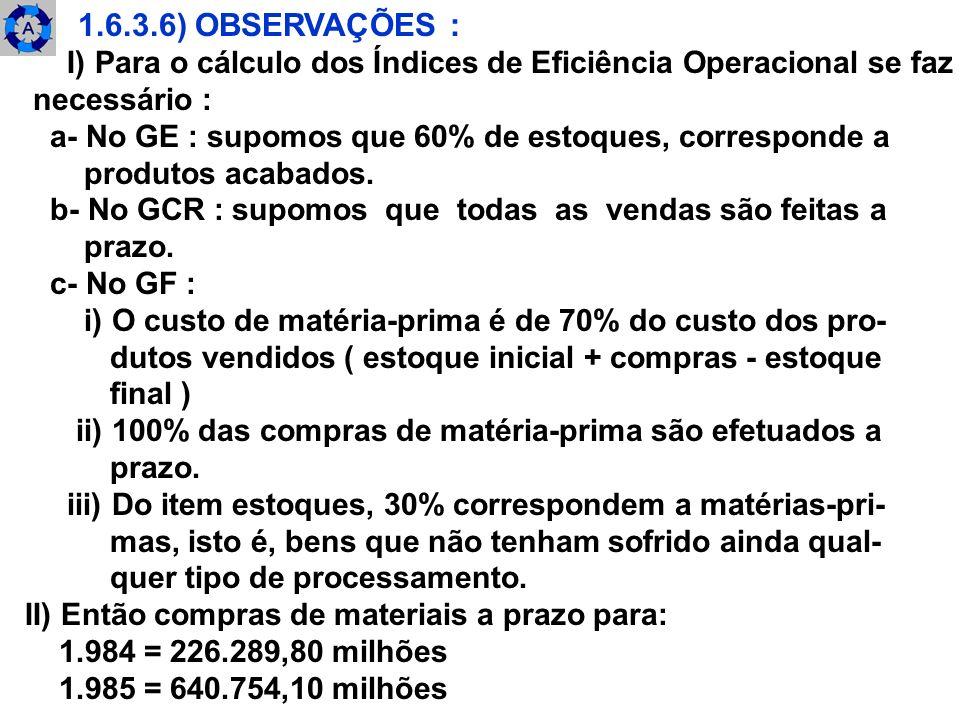 1.6.3.6) OBSERVAÇÕES : I) Para o cálculo dos Índices de Eficiência Operacional se faz. necessário :
