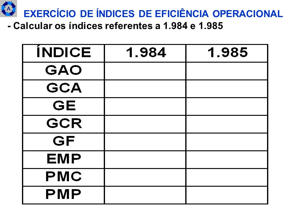 EXERCÍCIO DE ÍNDICES DE EFICIÊNCIA OPERACIONAL
