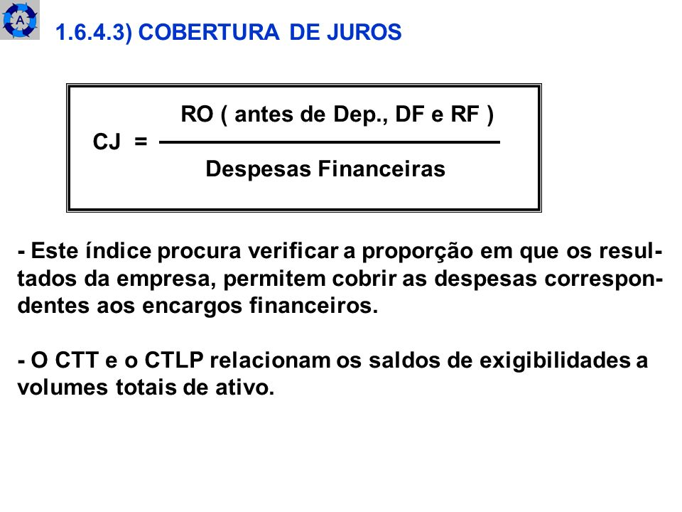 1.6.4.3) COBERTURA DE JUROSRO ( antes de Dep., DF e RF ) CJ = Despesas Financeiras. - Este índice procura verificar a proporção em que os resul-