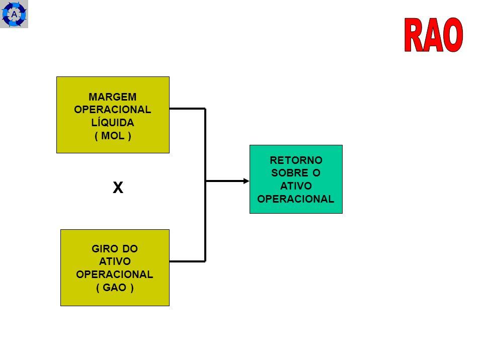 RAO X MARGEM OPERACIONAL LÍQUIDA ( MOL ) RETORNO SOBRE O ATIVO