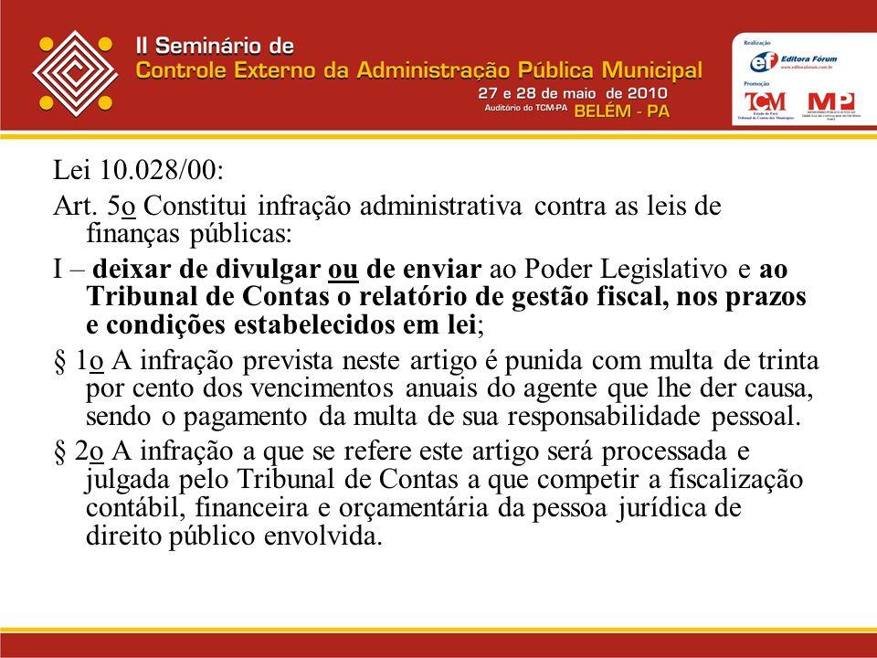 Lei 10.028/00: Art. 5o Constitui infração administrativa contra as leis de finanças públicas: