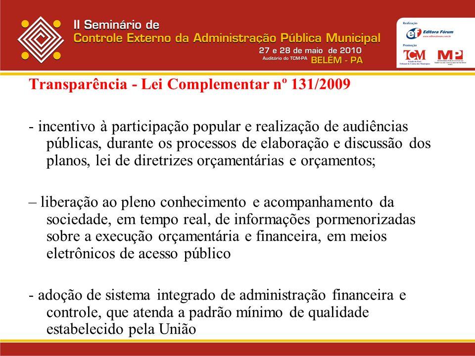 Transparência - Lei Complementar nº 131/2009